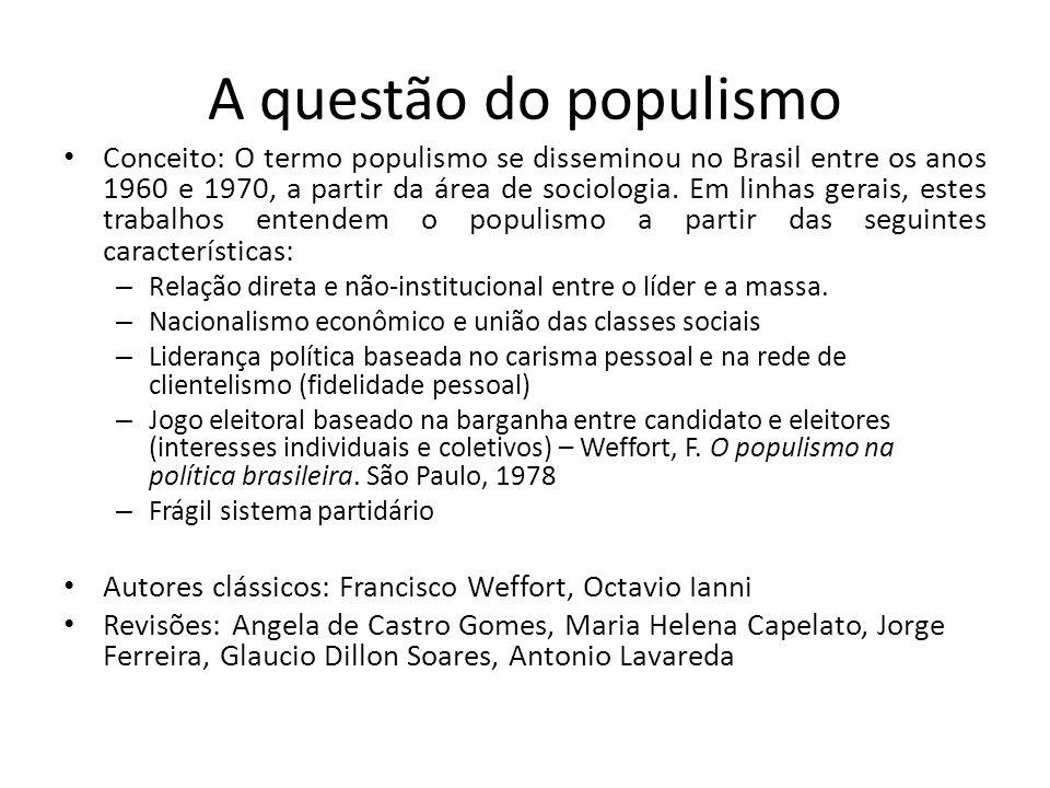 A questão do populismo Conceito: O termo populismo se disseminou no Brasil entre os anos 1960 e 1970, a partir da área de sociologia. Em linhas gerais