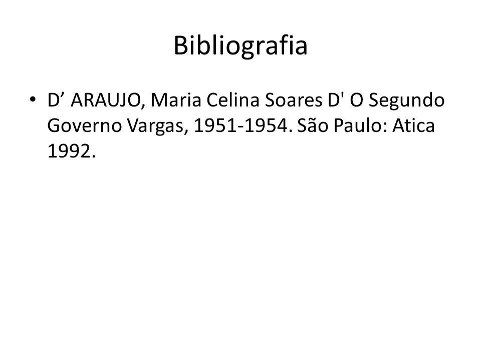 Bibliografia D ARAUJO, Maria Celina Soares D' O Segundo Governo Vargas, 1951-1954. São Paulo: Atica 1992.