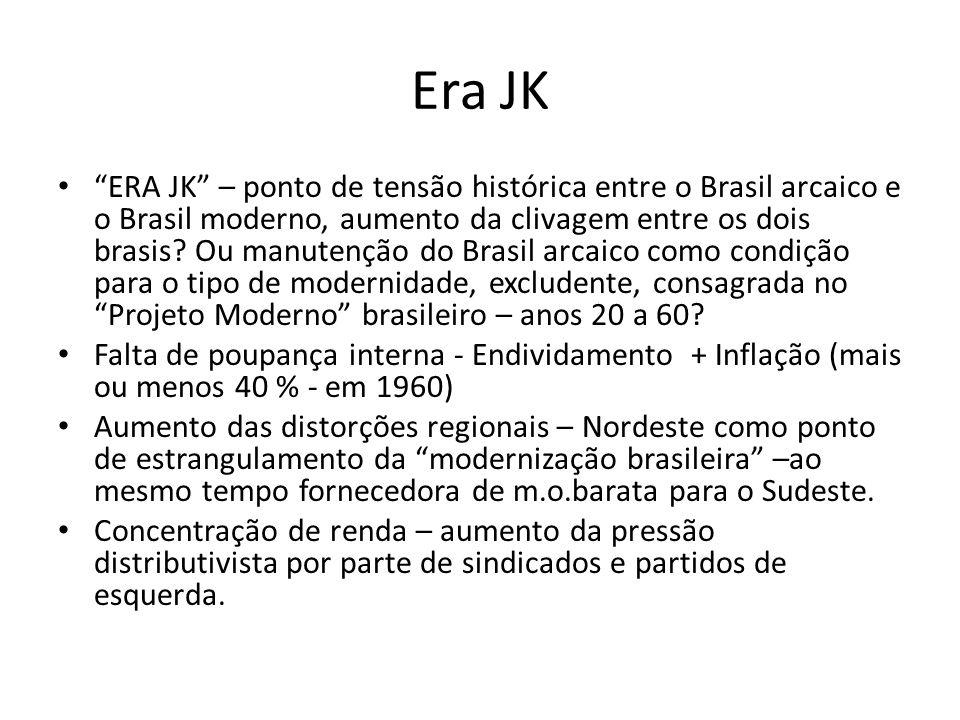 Era JK ERA JK – ponto de tensão histórica entre o Brasil arcaico e o Brasil moderno, aumento da clivagem entre os dois brasis? Ou manutenção do Brasil