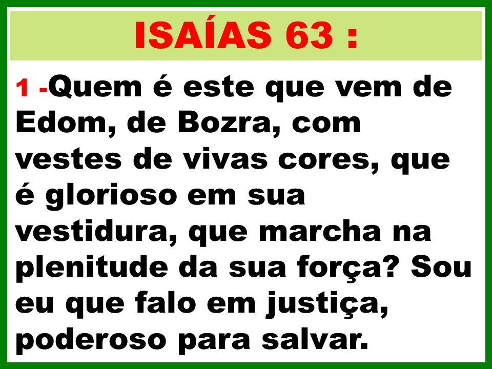 ISAÍAS 63 : 1 - Quem é este que vem de Edom, de Bozra, com vestes de vivas cores, que é glorioso em sua vestidura, que marcha na plenitude da sua forç