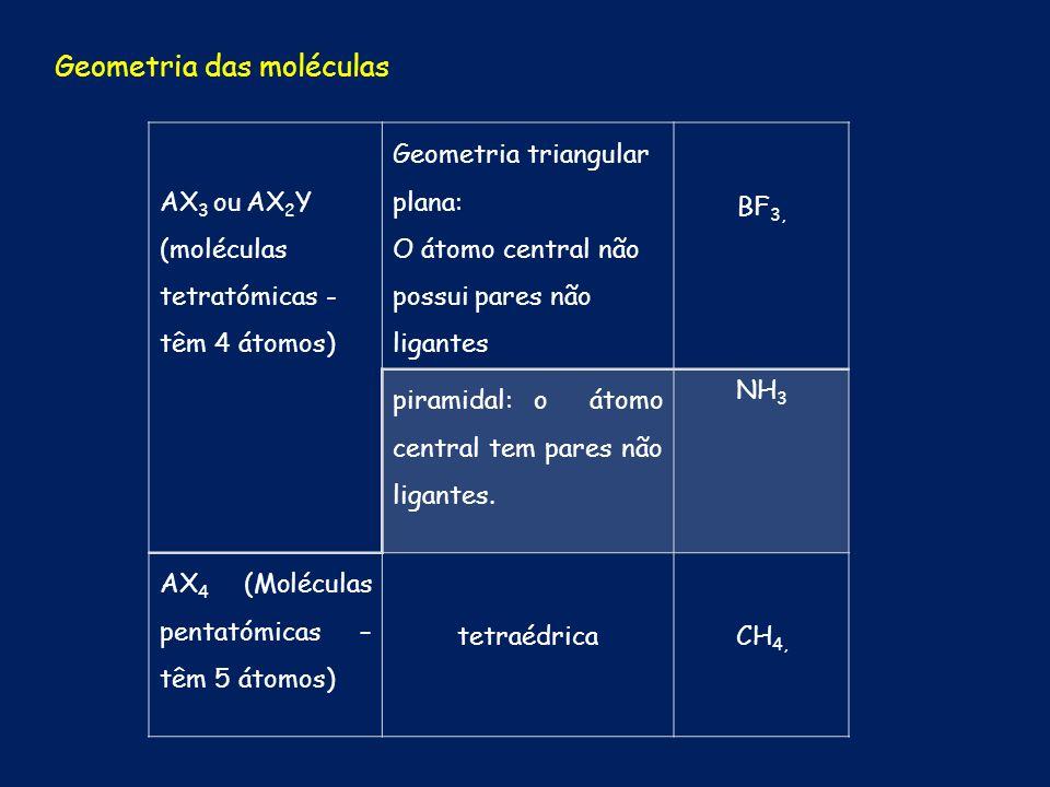 AX 3 ou AX 2 Y (moléculas tetratómicas - têm 4 átomos) Geometria triangular plana: O átomo central não possui pares não ligantes BF 3, piramidal: o át