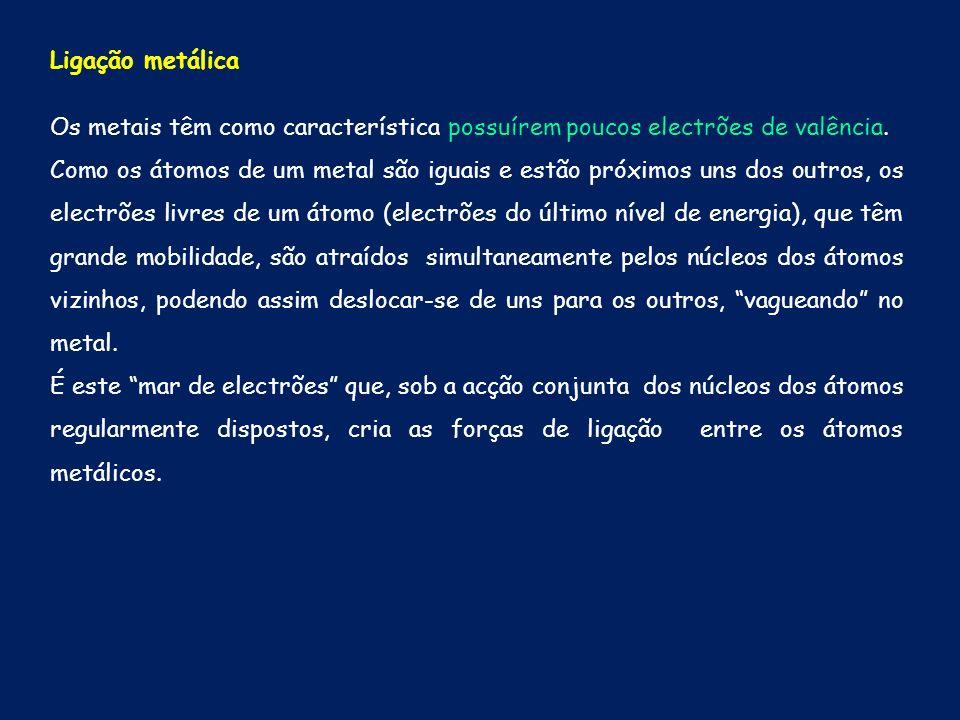 Ligação metálica Os metais têm como característica possuírem poucos electrões de valência. Como os átomos de um metal são iguais e estão próximos uns