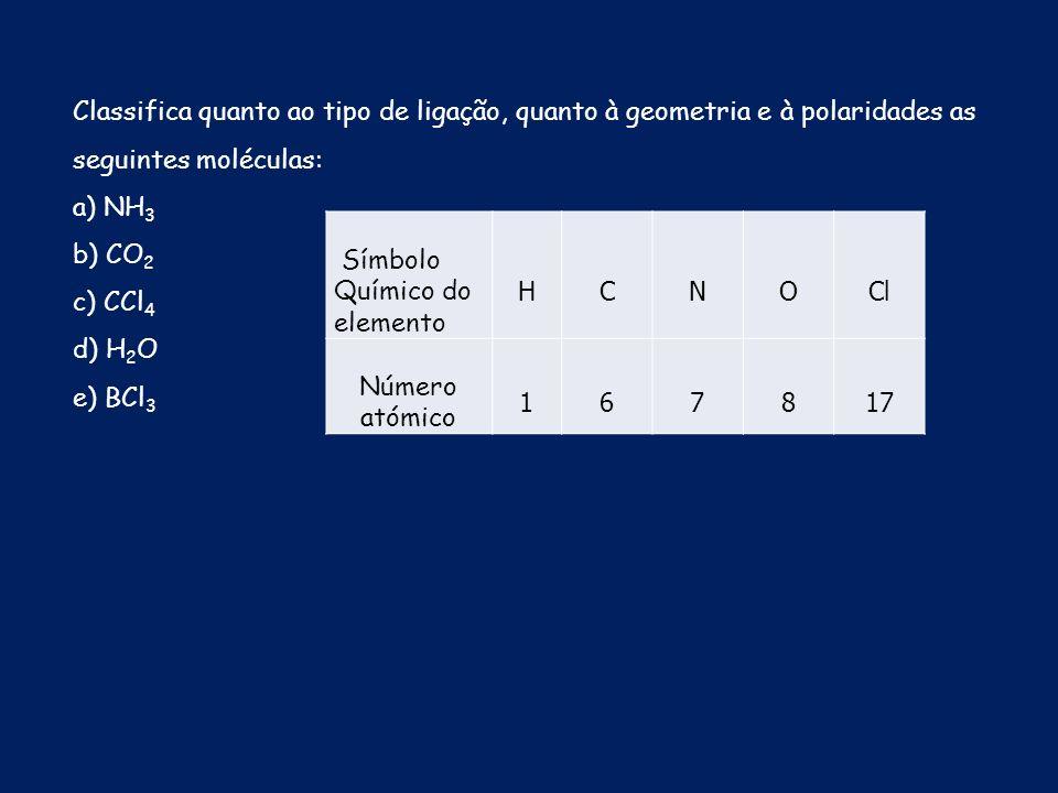 Classifica quanto ao tipo de ligação, quanto à geometria e à polaridades as seguintes moléculas: a) NH 3 b) CO 2 c) CCl 4 d) H 2 O e) BCl 3 Símbolo Qu