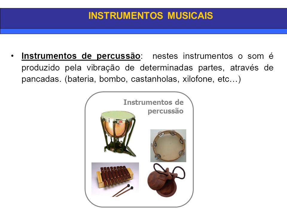 INSTRUMENTOS MUSICAIS Instrumentos de percussão: nestes instrumentos o som é produzido pela vibração de determinadas partes, através de pancadas.