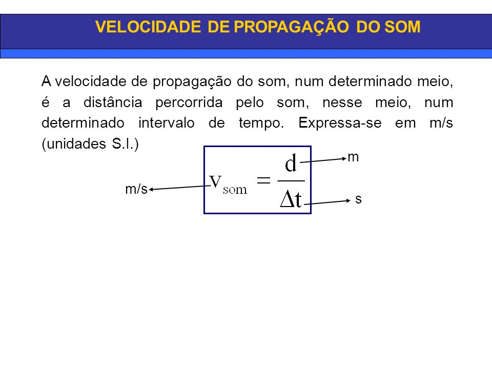 VELOCIDADE DE PROPAGAÇÃO DO SOM m s m/s A velocidade de propagação do som, num determinado meio, é a distância percorrida pelo som, nesse meio, num determinado intervalo de tempo.