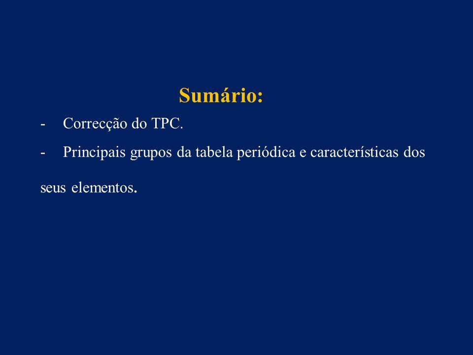 Sumário: -Correcção do TPC.