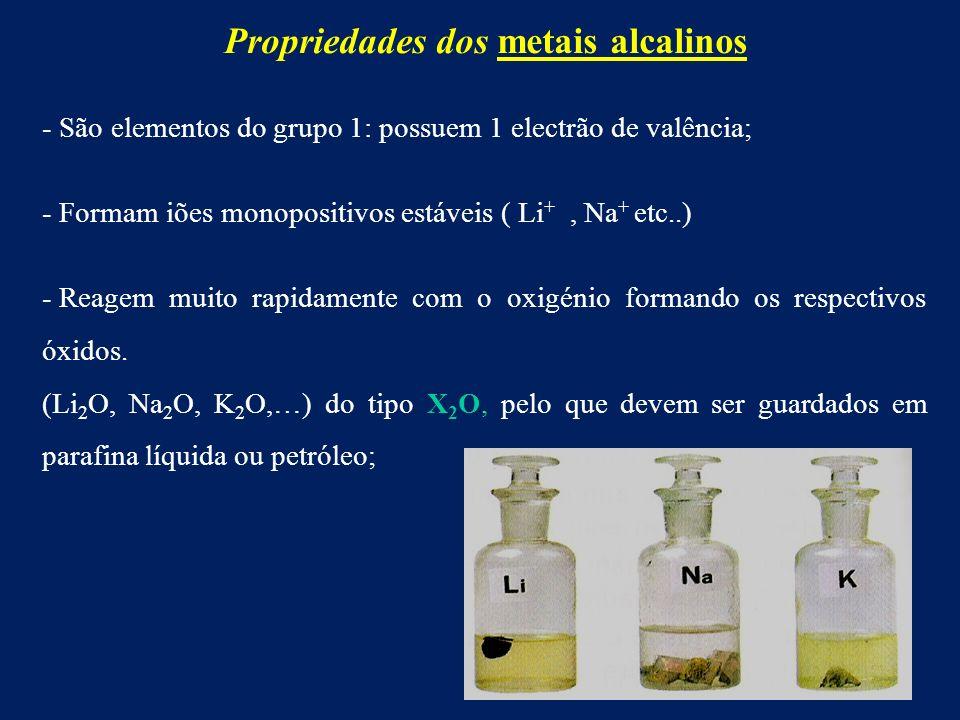 Propriedades dos metais alcalinos - São elementos do grupo 1: possuem 1 electrão de valência; - Formam iões monopositivos estáveis ( Li +, Na + etc..) - Reagem muito rapidamente com o oxigénio formando os respectivos óxidos.
