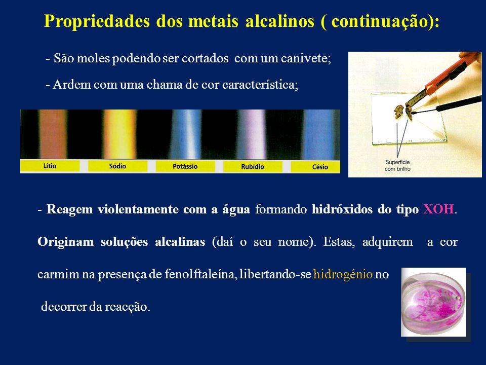 Propriedades dos metais alcalinos ( continuação): - São moles podendo ser cortados com um canivete; - Ardem com uma chama de cor característica; - Reagem violentamente com a água formando hidróxidos do tipo XOH.