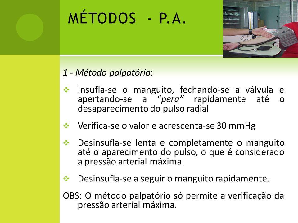 MÉTODOS - P.A. 1 - Método palpatório: Insufla-se o manguito, fechando-se a válvula e apertando-se a pera rapidamente até o desaparecimento do pulso ra