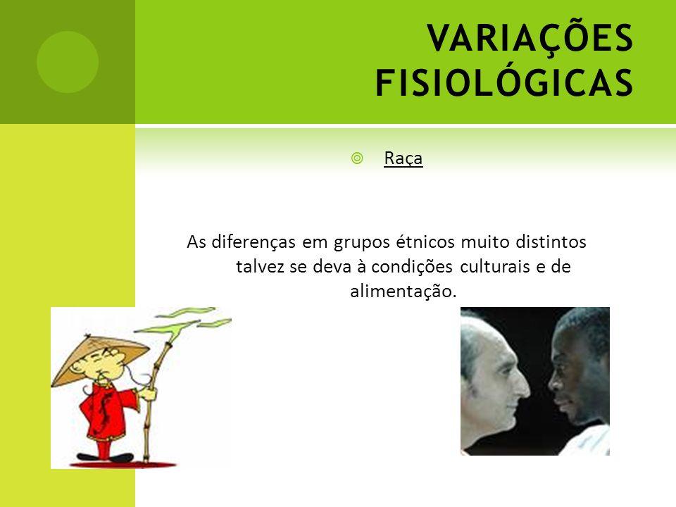 VARIAÇÕES FISIOLÓGICAS Raça As diferenças em grupos étnicos muito distintos talvez se deva à condições culturais e de alimentação.