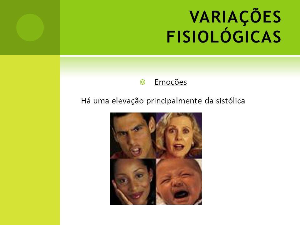 VARIAÇÕES FISIOLÓGICAS Emoções Há uma elevação principalmente da sistólica