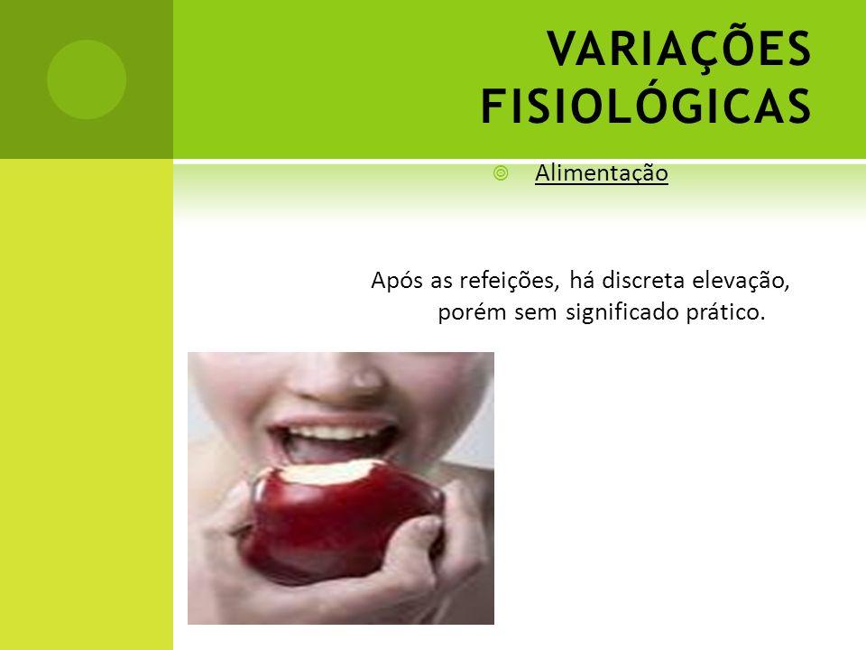 VARIAÇÕES FISIOLÓGICAS Alimentação Após as refeições, há discreta elevação, porém sem significado prático.
