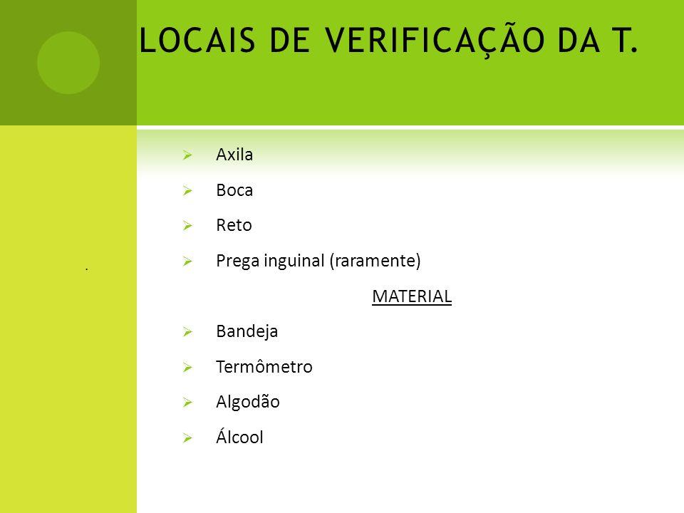 LOCAIS DE VERIFICAÇÃO DA T. Axila Boca Reto Prega inguinal (raramente) MATERIAL Bandeja Termômetro Algodão Álcool.