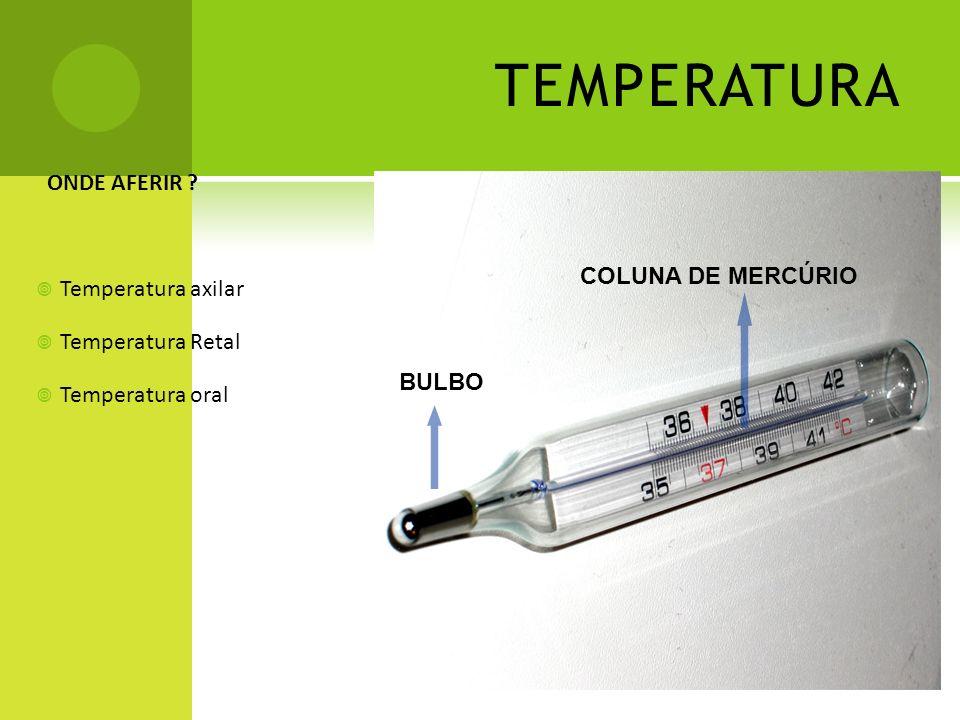 TEMPERATURA ONDE AFERIR ? Temperatura axilar Temperatura Retal Temperatura oral BULBO COLUNA DE MERCÚRIO