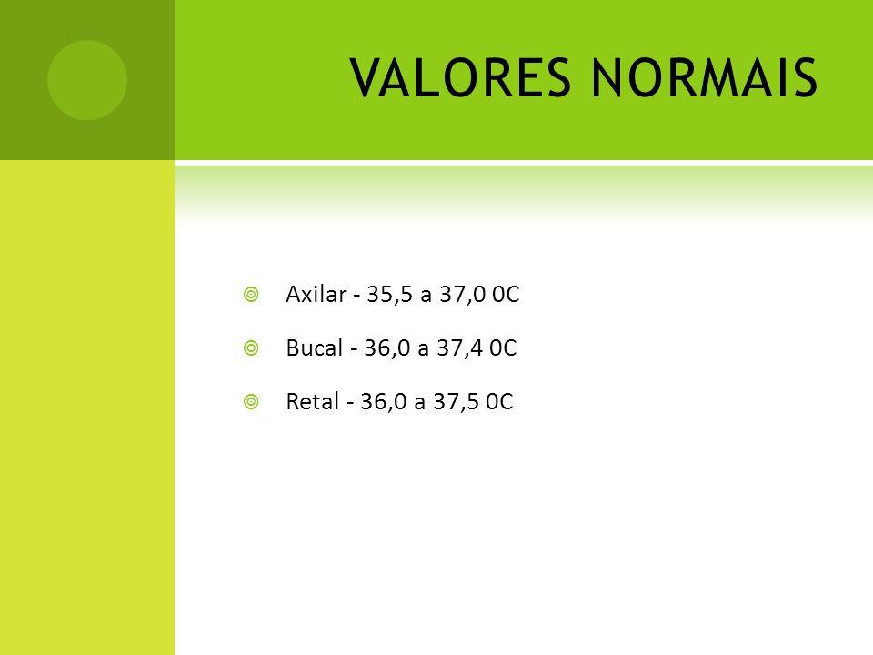 VALORES NORMAIS Axilar - 35,5 a 37,0 0C Bucal - 36,0 a 37,4 0C Retal - 36,0 a 37,5 0C