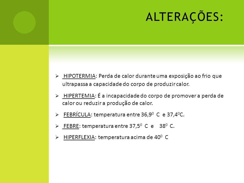 ALTERAÇÕES: HIPOTERMIA: Perda de calor durante uma exposição ao frio que ultrapassa a capacidade do corpo de produzir calor. HIPERTEMIA: É a incapacid