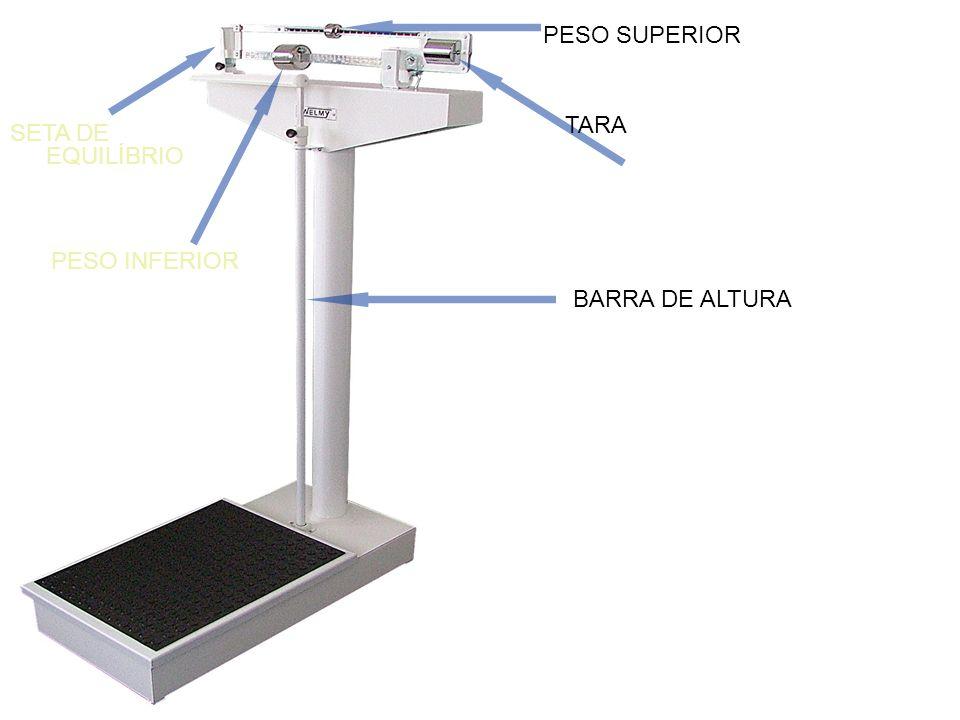 PESO SUPERIOR PESO INFERIOR BARRA DE ALTURA SETA DE EQUILÍBRIO TARA
