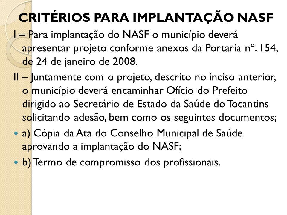 CRITÉRIOS PARA IMPLANTAÇÃO NASF I – Para implantação do NASF o município deverá apresentar projeto conforme anexos da Portaria nº. 154, de 24 de janei
