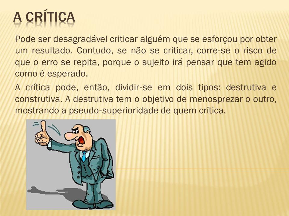 Pode ser desagradável criticar alguém que se esforçou por obter um resultado. Contudo, se não se criticar, corre se o risco de que o erro se repita, p
