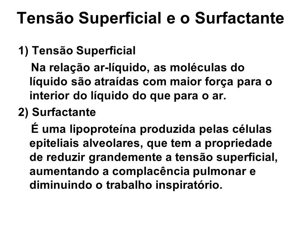 Tensão Superficial e o Surfactante 1) Tensão Superficial Na relação ar-líquido, as moléculas do líquido são atraídas com maior força para o interior do líquido do que para o ar.