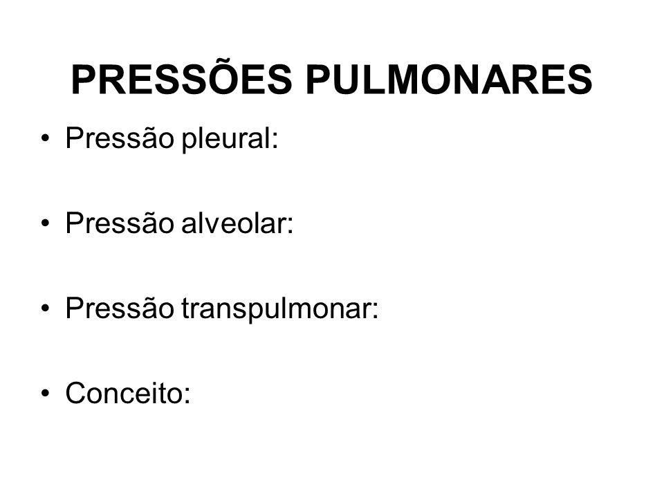 PRESSÕES PULMONARES Pressão pleural: Pressão alveolar: Pressão transpulmonar: Conceito: