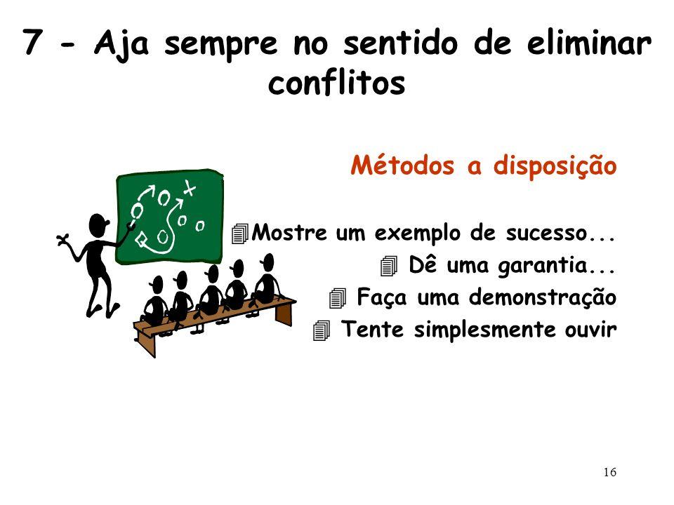15 6 - Procure a solução ganha-ganha Os conflitos não são casuais. Eles ocorrem porque as pessoas sentem-se frustradas ou humilhadas, ignoradas, não r
