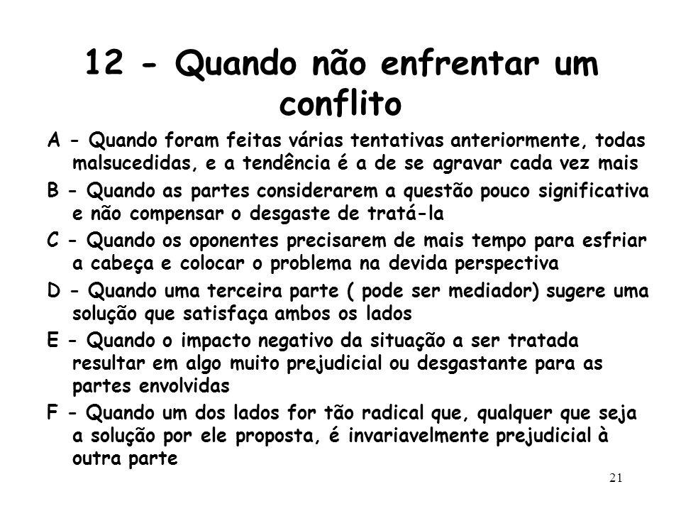 20 11 - Não varra os problemas para debaixo do tapete Se houver um conflito... Enfrente-o Não ignore a situação Não contemporize.
