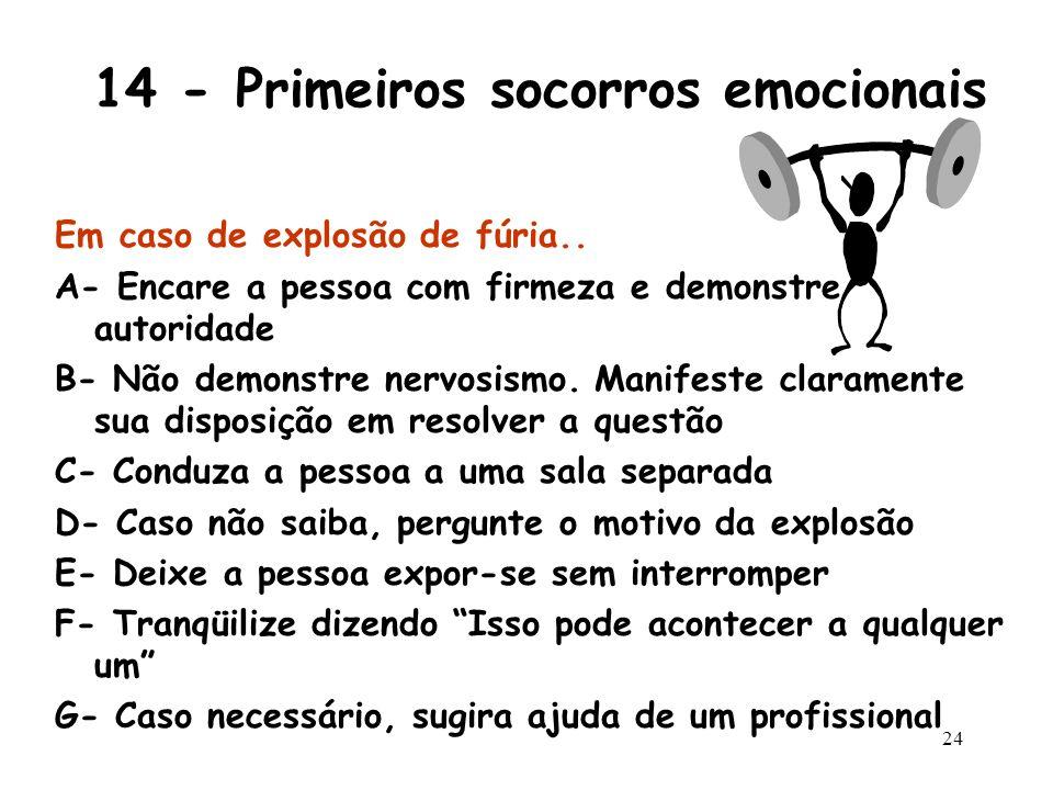 23 14 - Primeiros socorros emocionais Se a crise emocional não exceder os limites do razoável, tente as seguintes ações: Em caso de choro ou desespero