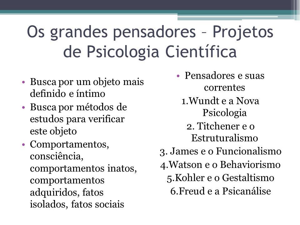 Os grandes pensadores – Projetos de Psicologia Científica Busca por um objeto mais definido e íntimo Busca por métodos de estudos para verificar este