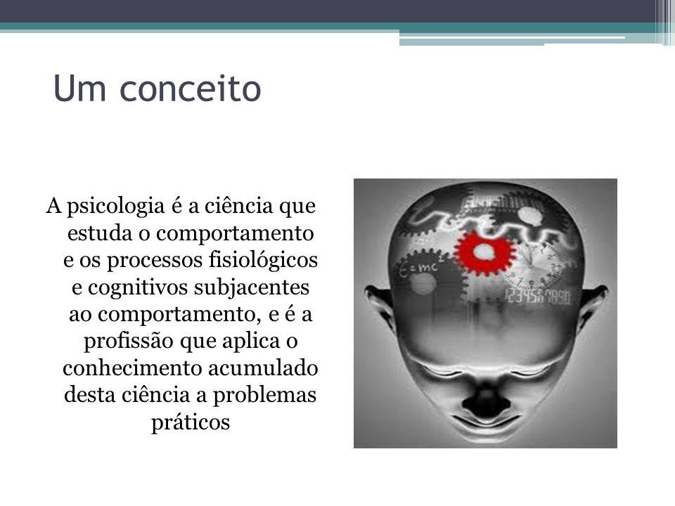 Um conceito A psicologia é a ciência que estuda o comportamento e os processos fisiológicos e cognitivos subjacentes ao comportamento, e é a profissão