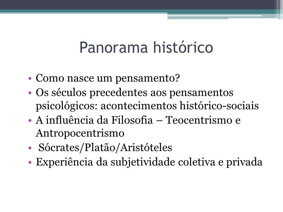 Panorama histórico Como nasce um pensamento? Os séculos precedentes aos pensamentos psicológicos: acontecimentos histórico-sociais A influência da Fil