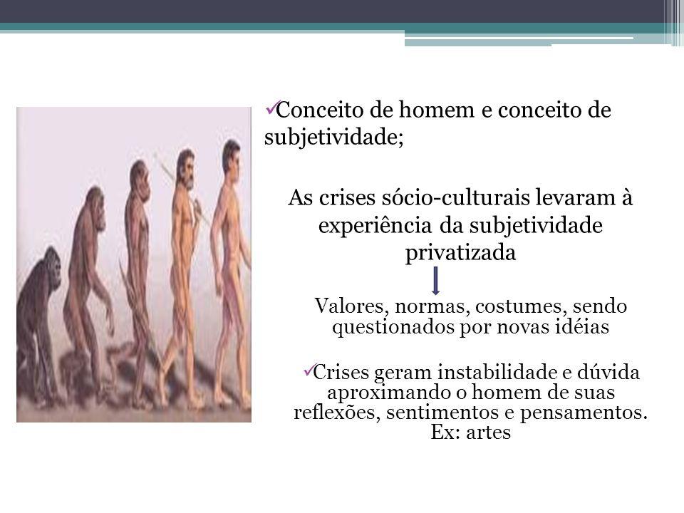 Conceito de homem e conceito de subjetividade; As crises sócio-culturais levaram à experiência da subjetividade privatizada Valores, normas, costumes,