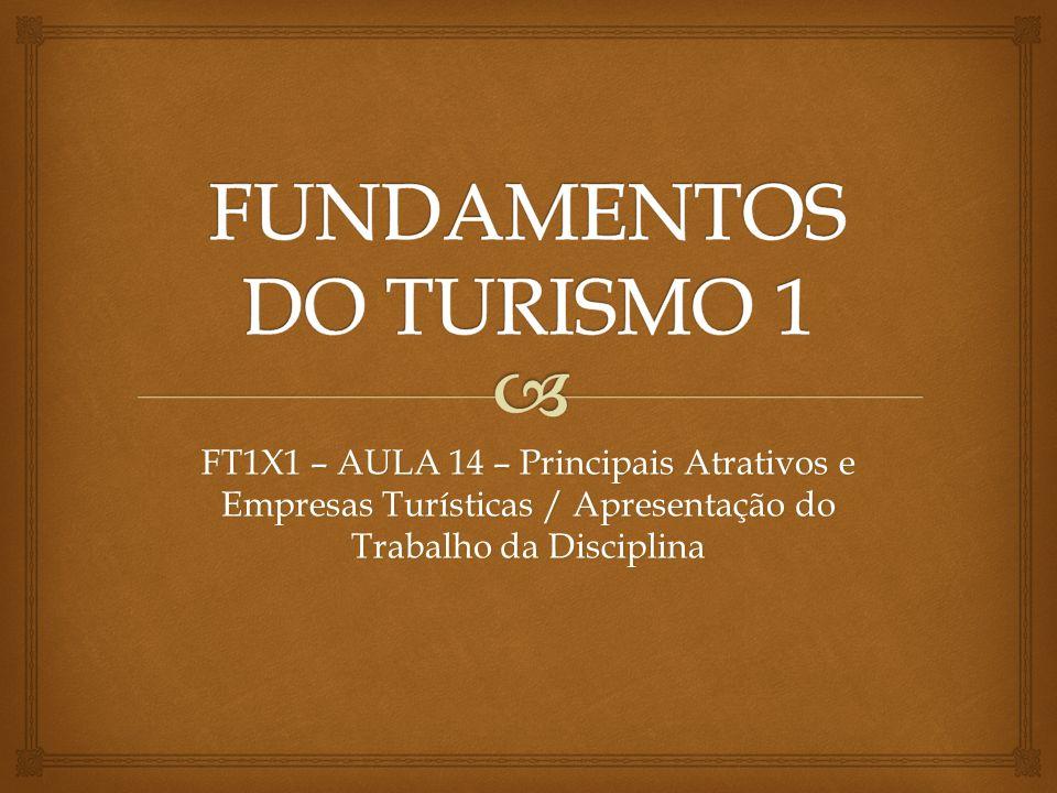 FT1X1 – AULA 14 – Principais Atrativos e Empresas Turísticas / Apresentação do Trabalho da Disciplina