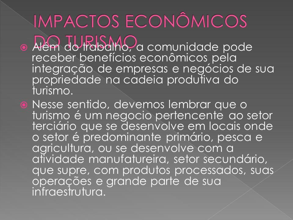 Além do trabalho, a comunidade pode receber benefícios econômicos pela integração de empresas e negócios de sua propriedade na cadeia produtiva do turismo.