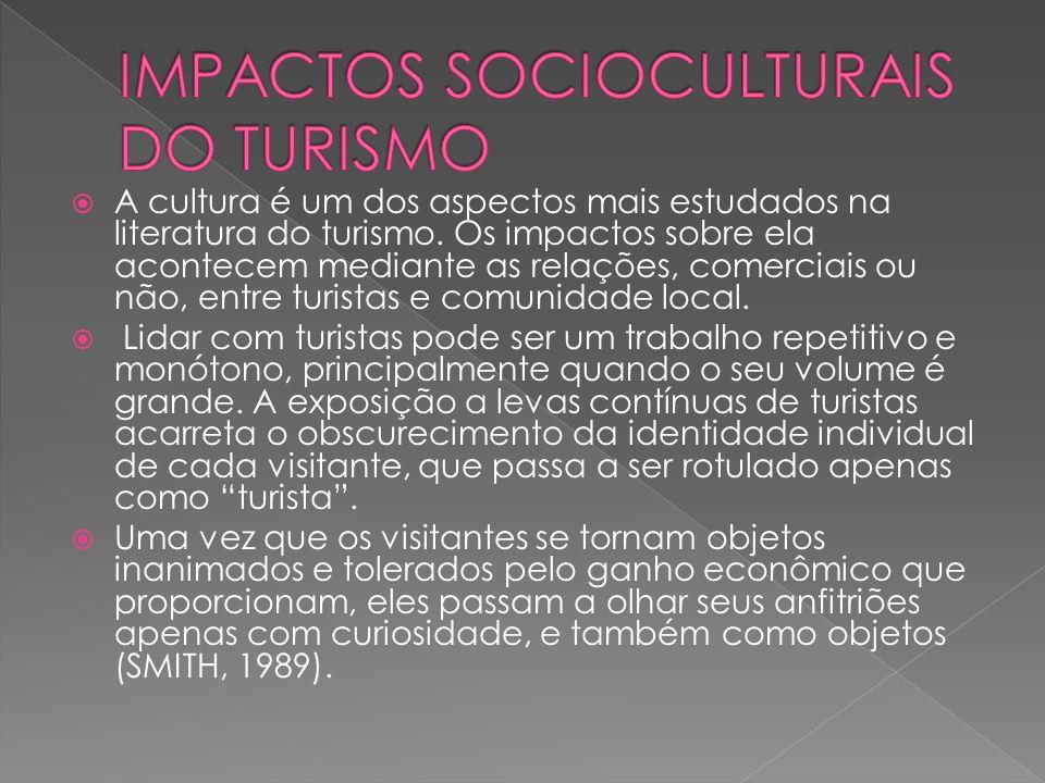 A cultura é um dos aspectos mais estudados na literatura do turismo.