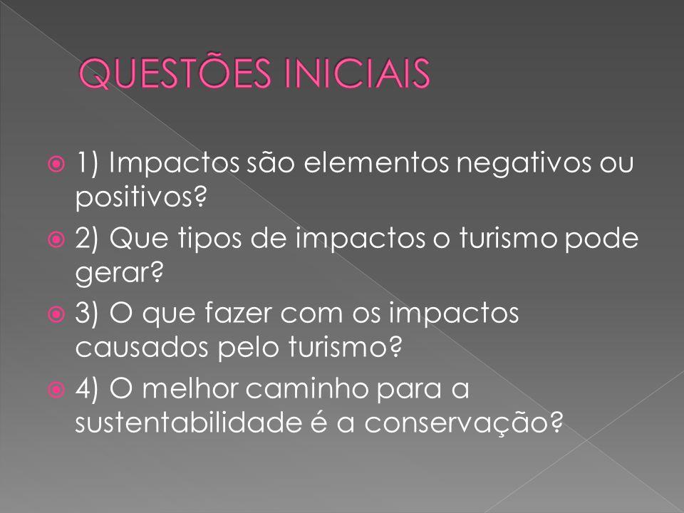 1) Impactos são elementos negativos ou positivos? 2) Que tipos de impactos o turismo pode gerar? 3) O que fazer com os impactos causados pelo turismo?