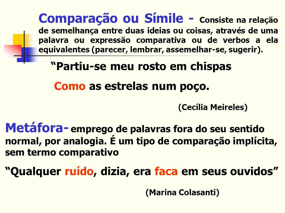 Comparação ou Símile - Consiste na relação de semelhança entre duas ideias ou coisas, através de uma palavra ou expressão comparativa ou de verbos a e