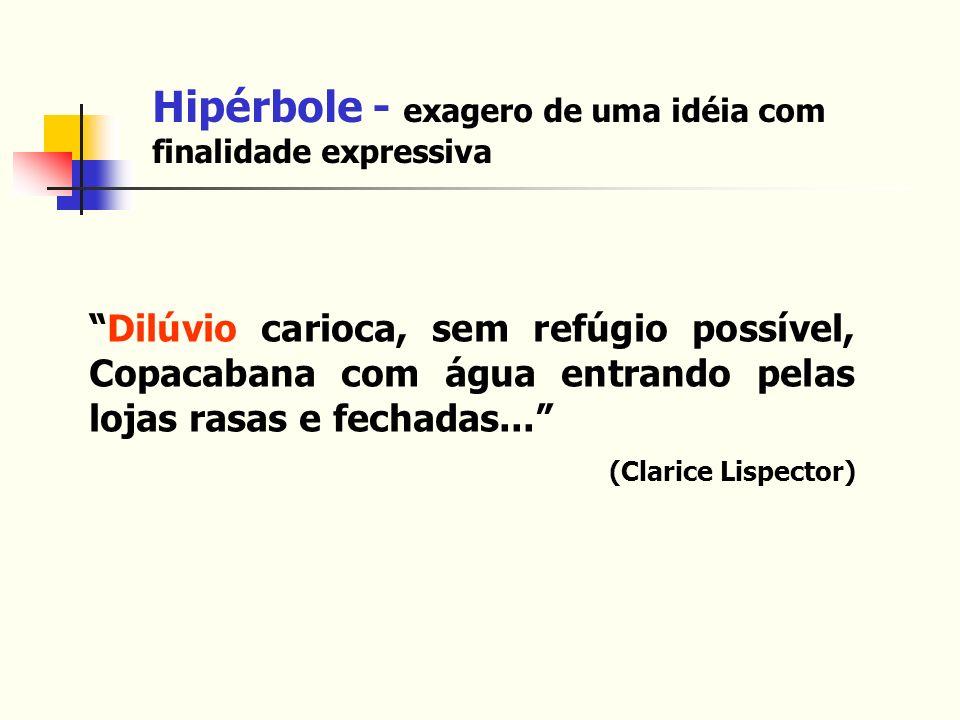 Hipérbole - exagero de uma idéia com finalidade expressiva Dilúvio carioca, sem refúgio possível, Copacabana com água entrando pelas lojas rasas e fec
