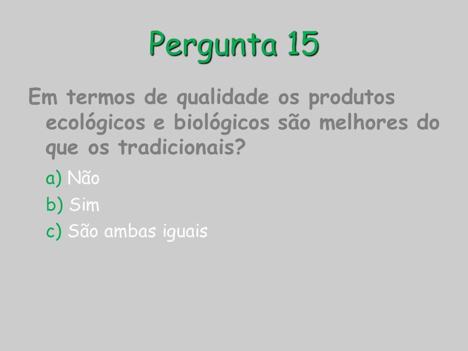 Pergunta 15 Em termos de qualidade os produtos ecológicos e biológicos são melhores do que os tradicionais? a) Não b) Sim c) São ambas iguais