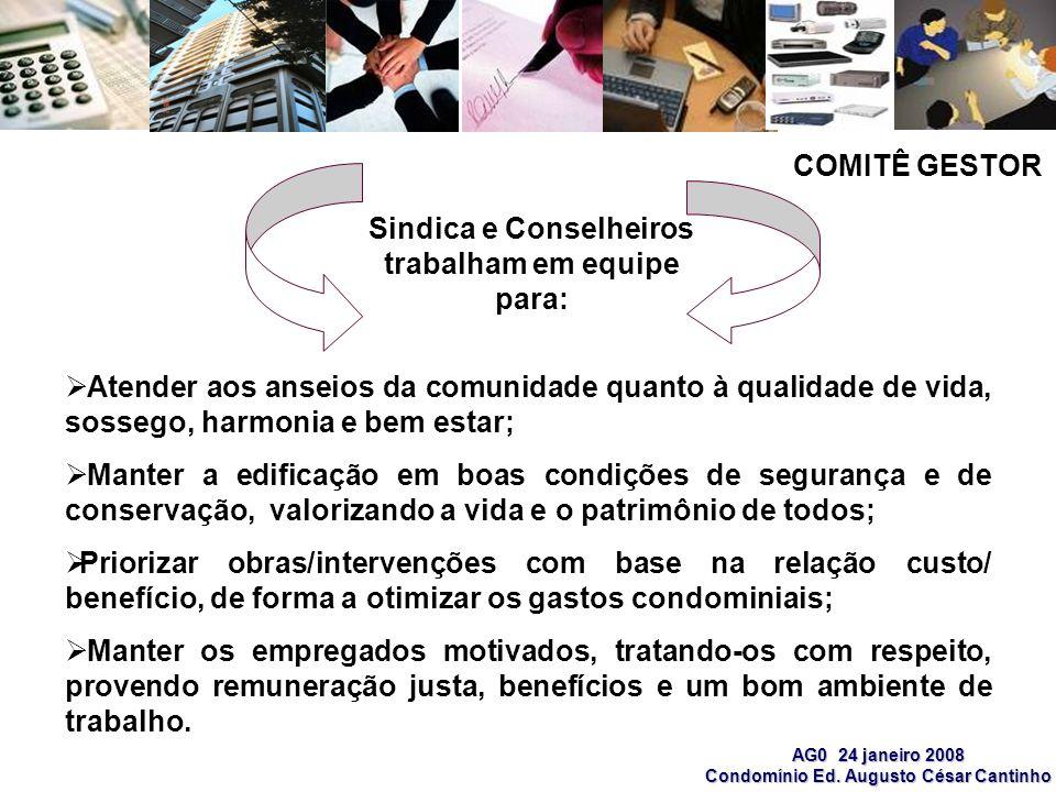 AG0 24 janeiro 2008 Condomínio Ed. Augusto César Cantinho Atender aos anseios da comunidade quanto à qualidade de vida, sossego, harmonia e bem estar;