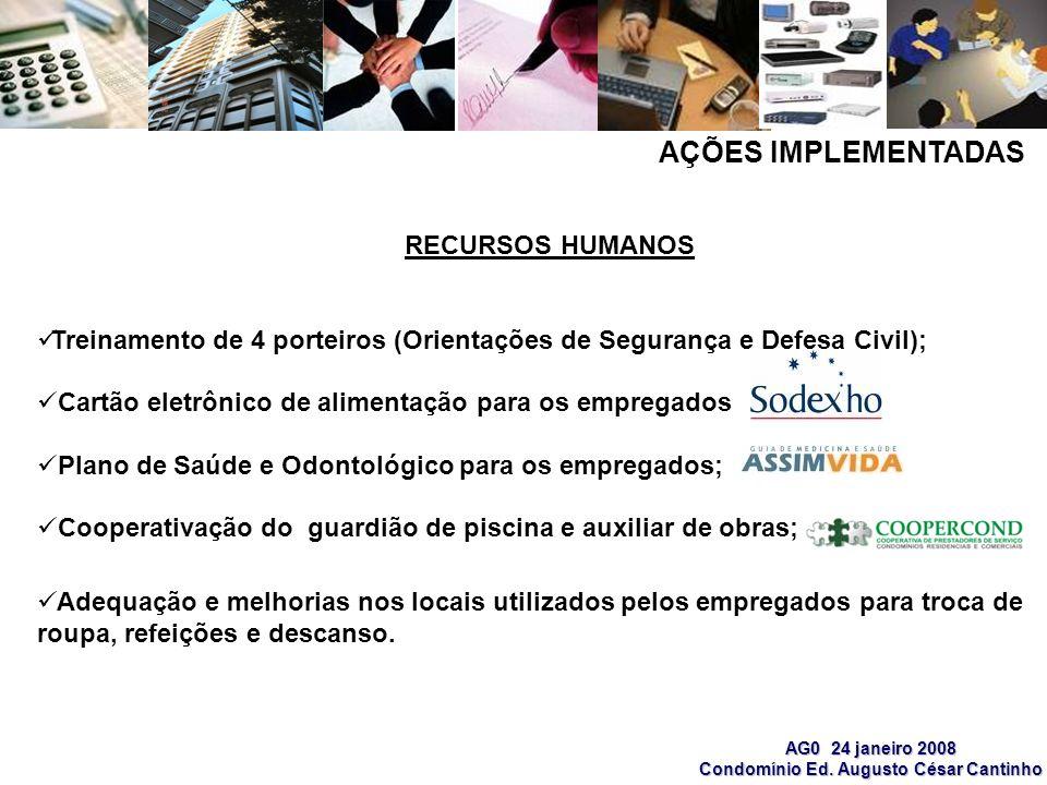 AG0 24 janeiro 2008 Condomínio Ed. Augusto César Cantinho AÇÕES IMPLEMENTADAS RECURSOS HUMANOS Treinamento de 4 porteiros (Orientações de Segurança e