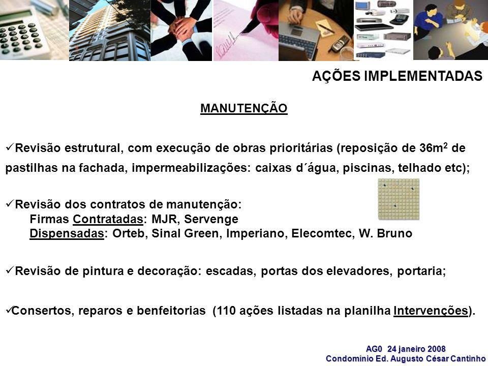 AG0 24 janeiro 2008 Condomínio Ed. Augusto César Cantinho MANUTENÇÃO Revisão estrutural, com execução de obras prioritárias (reposição de 36m 2 de pas