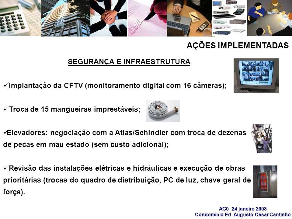 AG0 24 janeiro 2008 Condomínio Ed. Augusto César Cantinho SEGURANÇA E INFRAESTRUTURA Implantação da CFTV (monitoramento digital com 16 câmeras); Troca