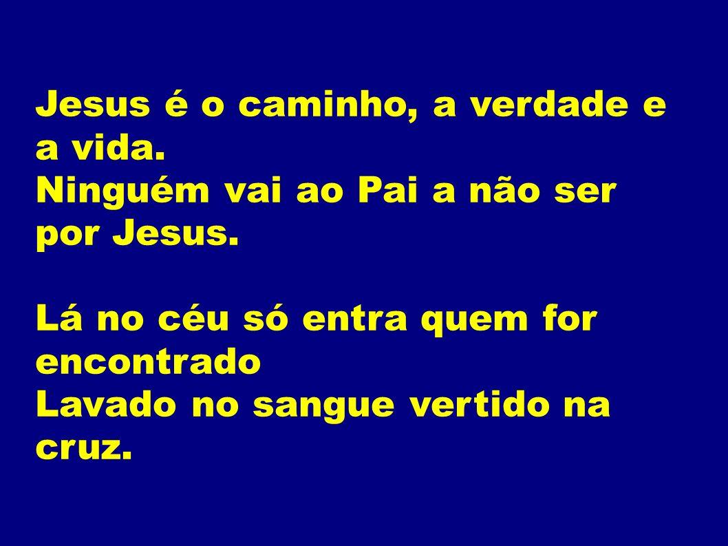 Jesus é o caminho, a verdade e a vida. Ninguém vai ao Pai a não ser por Jesus. Lá no céu só entra quem for encontrado Lavado no sangue vertido na cruz