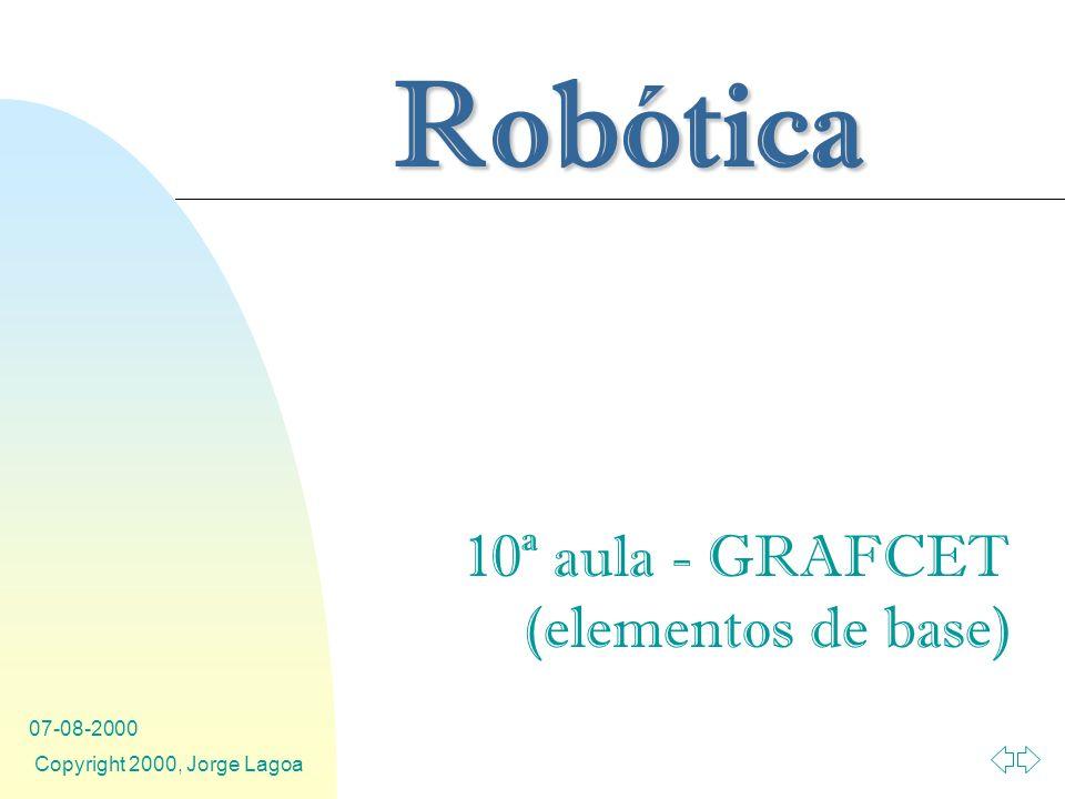Robótica 07-08-2000 Copyright 2000, Jorge Lagoa 10ª aula - GRAFCET (elementos de base)