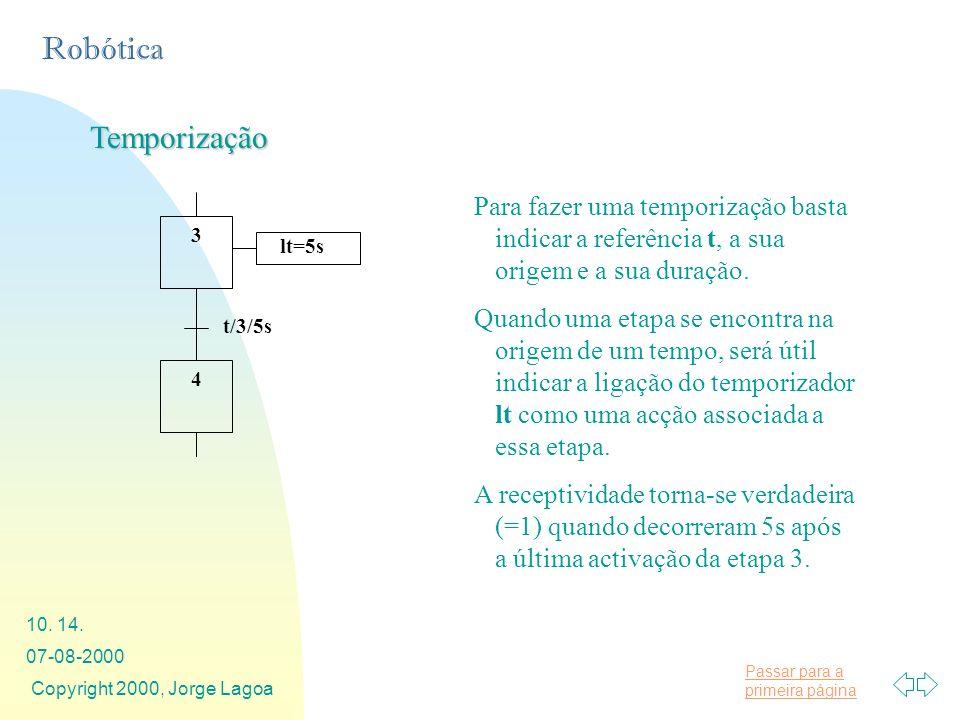 Passar para a primeira página Robótica 07-08-2000 Copyright 2000, Jorge Lagoa 10. 14. Temporização Para fazer uma temporização basta indicar a referên