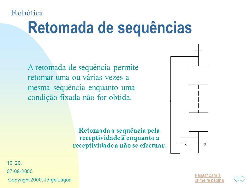 Passar para a primeira página Robótica 07-08-2000 Copyright 2000, Jorge Lagoa 10. 20. Retomada de sequências A retomada de sequência permite retomar u