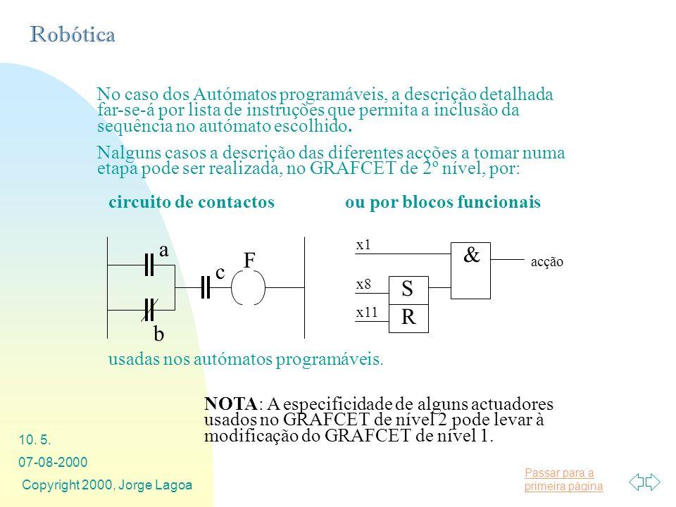 Passar para a primeira página Robótica 07-08-2000 Copyright 2000, Jorge Lagoa 10. 5. No caso dos Autómatos programáveis, a descrição detalhada far-se-