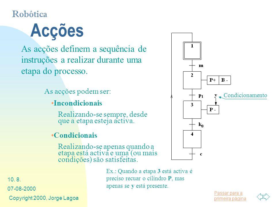Passar para a primeira página Robótica 07-08-2000 Copyright 2000, Jorge Lagoa 10. 8. Acções As acções definem a sequência de instruções a realizar dur