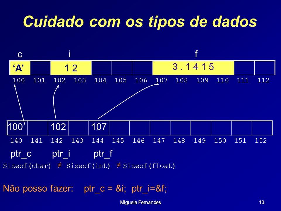 Miguela Fernandes 13 Cuidado com os tipos de dados c i f 100102107 140141142143144145146147148149150151152 A1 2 3. 1 4 1 5 100101102103104105106107108